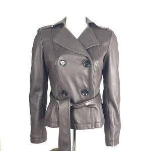 Michael Kors Brown Leather Double Breasted Jacket